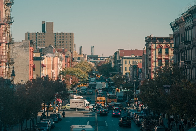 streets and buildings in Harlem, NYC